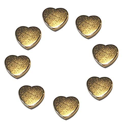 LeBigMag   8 extrem starke N35 Neodym Gold Magnetherzen   Ø15 mm 4 mm hoch   vergoldete sehr solide Magnete in Herzform aus extrastarkem NdFeB   für Pinnwand Kühlschrank Magnettafel Glasmagnettafel