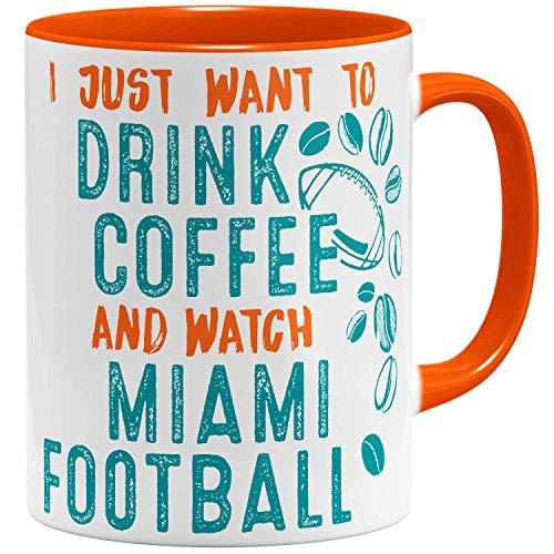 OM3® - Miami-Coffee - Tasse | Keramik Becher | American Football Mug | 11oz 325ml | Beidseitig Bedruckt | Orange