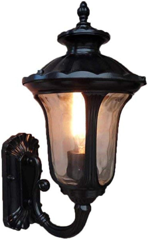 ZY Finition traiteHommest antirouille pour lanterne murale extérieure avec panneaux de verre transparent Art Waterline Base E27 résistant à l'eau pour terrasse de porche traditionnelle (Couleur  noir-Hau
