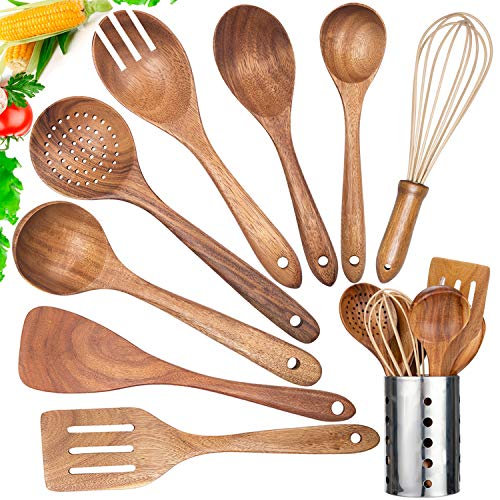 Kitchen Utensil Set Wood,9 Pack Wooden Cooking Utensils with Holder, Natural Teak Wooden Spoons for Cooking,Wooden Spatula,Turner,Strainer,Ladle,Egg Whisk,Slottled Spoons