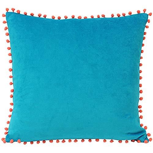 Riva Paoletti Velvet Pompom Cushion Cover - Teal Blue - Faux Velvet Fabric - Contrasting Coral Orange Pompom Edges - Hidden Zip Closure - 100% Soft Cotton - 45 x 45cm (18' x 18' inches)