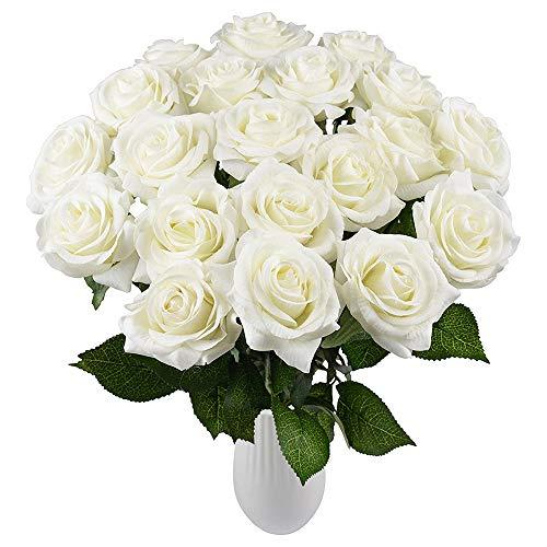 Yidarton Kunstblumen, 10 Stück Künstliche Rosen Latex Rote/Weiß/Blaue/Lila/Champagner Rosen Deko Blumen künstlich für Hochzeit Home Hotel Party Dekoration und DIY Decor Blumenarrangemen