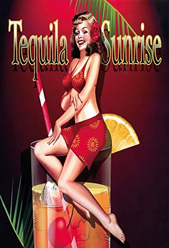 FS Pinup Girl Cocktail Tequila Sunrise metalen bord bordje gewelfd Metal Sign 20 x 30 cm