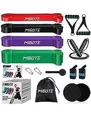 MIBOTE 16 stuks weerstandsbandenset fitnessbanden - 4 optrekbanden, 2 kernschuivers, springtouwen, handgrepen, deurankers, polsbandages voor lichaamsrek/krachttraining