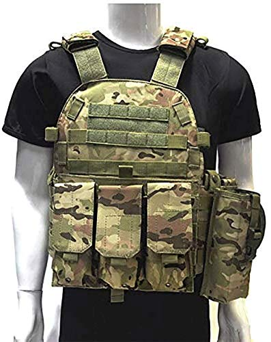 DMAIP Hunting Molle Tactical Vest Combat Security Training Tool Pouch Modoular Protective Durable Waistcoat for Outdoor Paintball CS Game Airsoft Climbing Hiking (ACU)