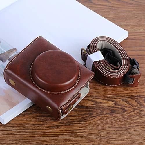 Bolsa Protectora de cámara de Cuero PU G7XII for cámara Digital Canon Powershot G7X Mark 2 G7XII, con Correa Calidad sin Preocupaciones (Color : Coffee)