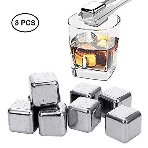 Herbruikbare ijsblokjes RVS Whiskey Stones Gift Set ijsblokjes voor Whiskey Chilling uw dranken zonder afbreuk verjaardag Alcohol Gifts for Men,Silver