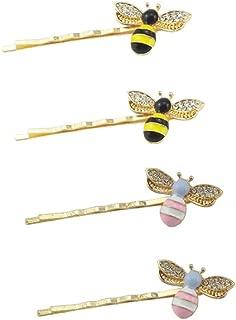 yueton Pack of 4 Women Honeybee Metal Hairpin Bee Crystal Hair Side Clip Barrette Bobby Pin Hairpin Hair Accessories