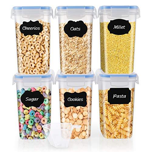 SOLEDI Recipientes de Almacenamiento de Cereales Juego de 6 Recipientes de (1.6L) Tiene Buena Estanqueidad al Aire, Se Mantiene Fresco y Puede Almacenar Cereales, Avena, Pasta, Galletas, Etc
