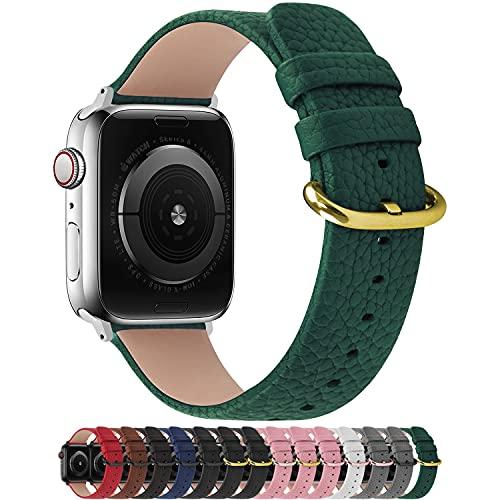 Fullmosa Cinturino per Apple Watch 42 mm/44 mm, Cinturino Pelle Compatibile con Apple Watch Serie SE 6 5 4 3 2 1, Sport, Nike+, Hermès, Edition, Verde Scuro + Fibbia Dorata Lucida