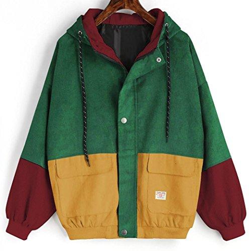 Gyoume Women Jackets Coat Long Sleeve Hoodies Corduroy Patchwork Oversize Zipper Jacket Windbreaker Coat Overcoat Clearance Wine