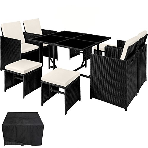 TecTake 800820 Rattan Garden Dining Cube Set 4+4 Seats + 1 Table | incl. Protection Slipcover | Stainless Steel Screws (Black)
