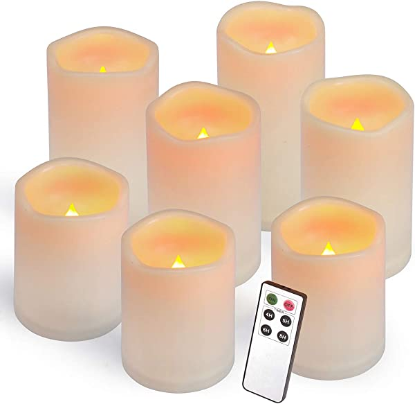 Aignis Flameless Candles Led Candles Set Of 7 H 4 4 4 5 5 6 6 X D 3 Ivory Resin Candles Battery Candles With Remote Timer Waterproof Outdoor Indoor Candles