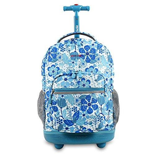 J World New York Sunrise Rolling Backpack. Roller Bag with Wheels, Blue Vine, 18'