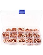 Yuhtech 300 piezas Juego de arandelas de cobre M5-M20 juego surtido de arandelas planas métricas de cobre