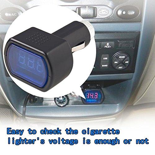 Ndier Auto Voltímetro, Coche Encendedor de Cigarrillos Enchufe–Comprobador de batería LED Digital 12V/24V