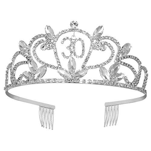 Frcolor Krone Geburtstag 30 Diadem Tiara mit Haarkamm Kristall Strass Silber Geburtstagsgeschenk 30 Jahre für Frauen