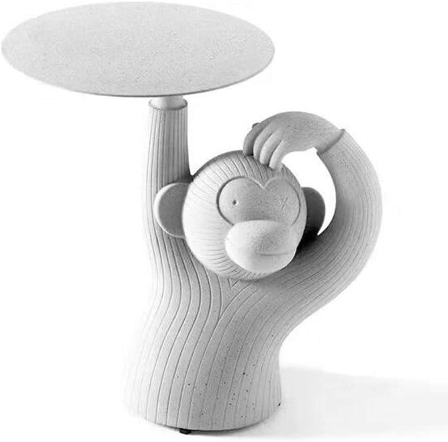 Hammer Creativas Esquinas Redondeadas, Mono imitación hormigón de Cemento, Resina Material de Mesa de café, Diversión Lateral Vivir en el Arte de la Bandeja (Color: A, Tamaño: 39 * 60 * 60 cm)