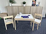 MakeThisMine Personalised Children's Ikea Wooden Table and 1 2 3 or 4 Chairs Name Engraved Ideal Kids Desk Set Gift for Kids Girls Boys Friends Family (2 Chairs, Back Engraving)