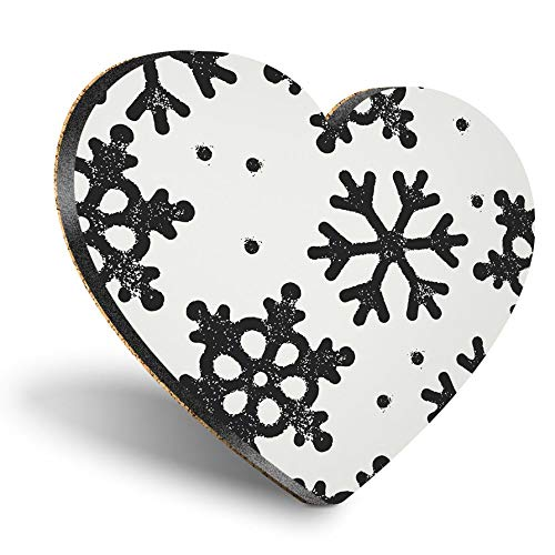 Posavasos con forma de corazón de MDF, color negro, con copos de nieve y nieve, con calidad brillante, protección de mesa para cualquier tipo de mesa #8407