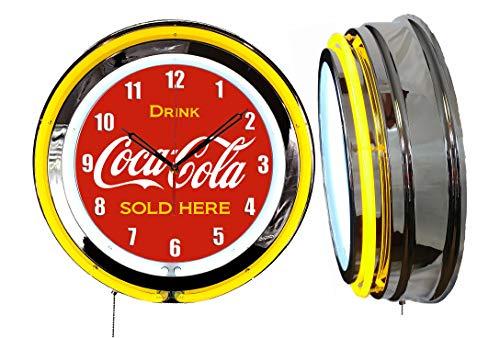 Checkingtime LLC 19  Coke Cola Neon Clock, Two Neon Tubes, Yellow Outside Tube