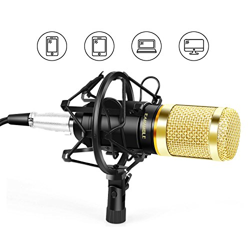 EARAMBLE Professional Studio Broadcasting Recording Condenser Microphone Recording Microphone with Shock Mount (Black)