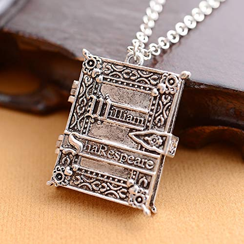 CLEARNICE Vintage Retro Gótico Photo Frame Collares Libro William Shakespeare Colgante Collar...
