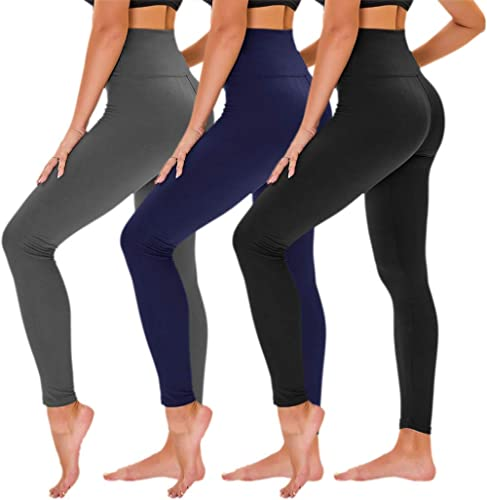 TNNZEET Lot de 3leggings opaques, pour femme, taille haute, serre-ventre, pantalons de course, de fitness, de sport,...