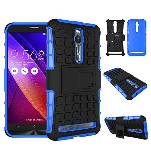 pinlu® Funda para ASUS ZenFone 2 ZE551ML / ZE550ML (5.5pulgada) Smartphone Doble Capa Híbrida Armadura Silicona TPU + PC Armor Heavy Duty Case Duradero Protección Neumáticos Patrón Azul