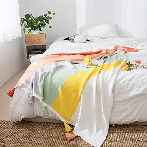 Manta Arco Iris De Punto Colorido,100% Algodón Borla De Ganchillo Decorativo Manta,Suave Acogedor Para Sofá Couch Cama Manta Arco Iris Color 130x160cm(51x63inch)-Color Arco Iris 70x100cm(28x39inch)