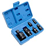 HELAKLS 1/4 3/8 1/2 3/4 Inch Drive, 6-Piece Female To Male Air Impact Adapter and Reducer Socket Set, Cr-Mo Steel, Ball Detent, Tapered Square End Hand Tools With Case