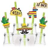 Fiesta Party Supplies 28pc Straw Set - Cinco de Mayo Decorations – Mexican Party Decorations – Fiesta Cupcake Toppers Mini Sombrero, Cactus, Piñata & Taco Theme Décor Party Favors