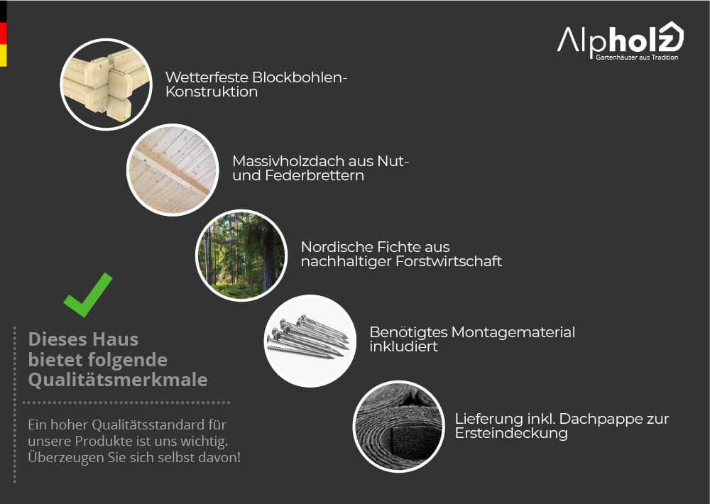 Alpholz Toby - Cobertizo de madera de abeto para jardín, incluye tela asfáltica, sin tratamiento de color: Amazon.es: Jardín