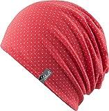 FEINZWIRN Florence - Trendige leichte Mütze für Damen und Herren - Unisex Slouch (Coral pink/White)