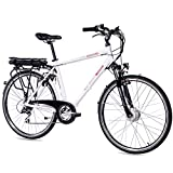 CHRISSON 28 Zoll E-Bike Trekking und City Bike für Herren - E-Gent weiß mit 8 Gang Acera Kettenschaltung - Pedelec Herren mit Ananda Vorderradmotor 250W, 36V