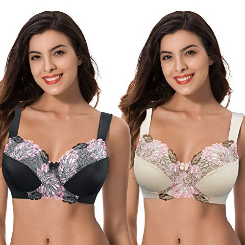 Curve Muse Women's Plus Size Minimizer Wireless Unlined Bra with Embroidery Lace-2Pack-BLACK,NUDE-44DDDD