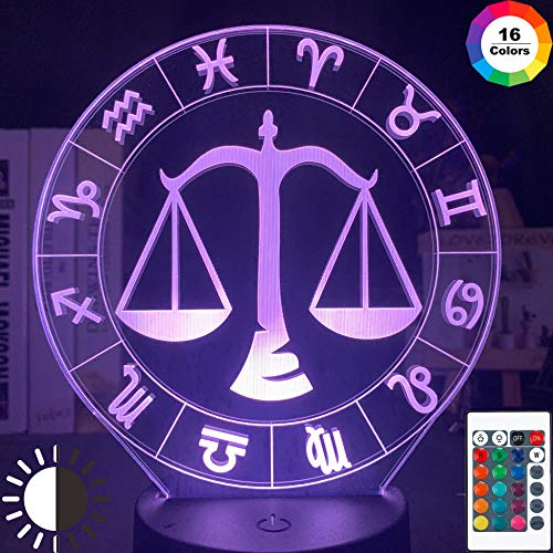 KangYD Waage 3D Nachtlicht Zwölf Konstellation, LED-Illusionslampe, E - Alarm Clock Base (7 Farbe), Liebhaber Geschenk, Visuelle Lampe, WeihnachtsgeschenkSchlaflampe