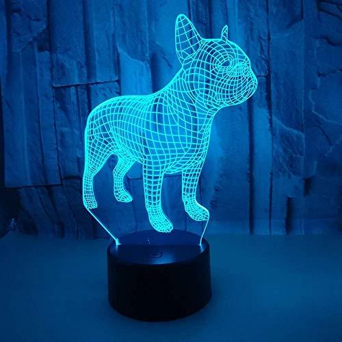 WSJTT Lámpara de escritorio cachorro LED colorido gradiente 3D estéreo lámpara de mesa táctil control remoto USB noche luz escritorio escritorio creativo decoración decoración adornos