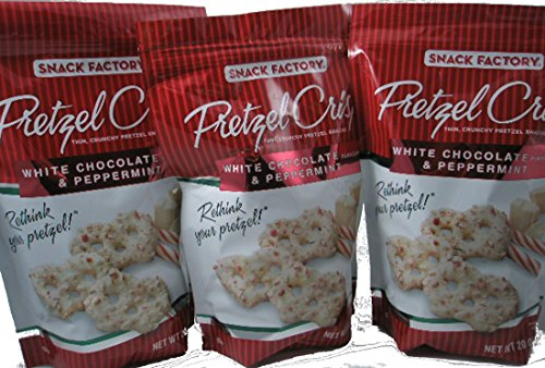 Snack Factory Pretzel Crisps White Chocolate Flavor and Peppermint 20 Oz Pack of 3 by Snack Factory