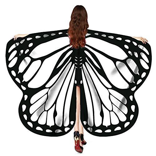 Vimoli Schmetterling kostüm Frauen Schmetterling Flügel Schals Poncho Kostüm Verkleidung Zubehör für Cosplay/Show/Daily/Party, Damen Schöner Chiffon Schmetterlingsflügel Schal(D Weiß,170X140CM)
