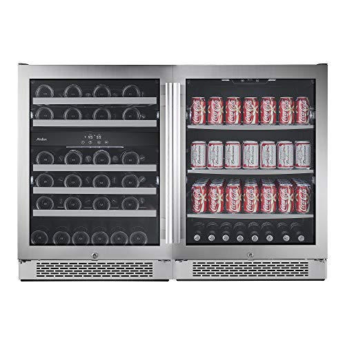 Avallon AWBV46152 Stainless Steel Built-In 48 Inch Wide 46 Bottle Capacity Wine Cooler with Door Locks and 3 Cooling Zones