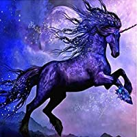 DIY数字油絵 塗り絵キット パズル油絵 紫の馬 デジタル油絵 手塗り 数字キットによる絵画 絵かき インテリア 壁飾り ホームデコレーション 40x50cm(額縁なし)