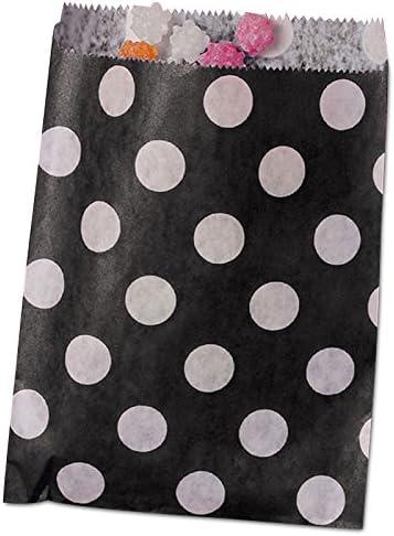 100ea - 5-1/8 X 6-3/8 Black Polka Dot Merchandise Bags