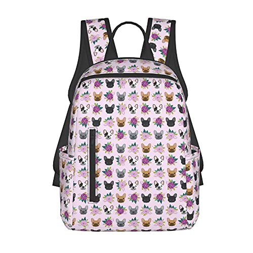 Fashion Backpack Multifunction Backpack French Bulldog Frenchie Florals Pink for Travel School Picnic, Lightweight Backpack Large Capacity with Mesh Side Pockets