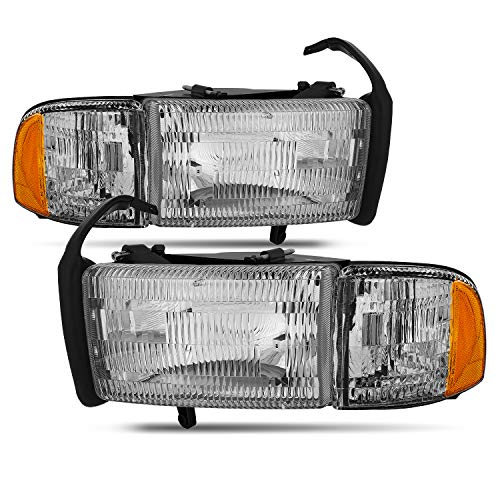 For Dodge Ram Pickup 1500 2500 3500 Headlights w/Corner Replacement Driver + Passenger Side Pair Set