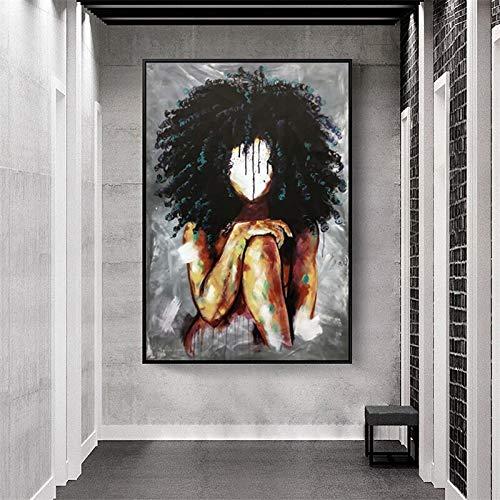 wZUN Chica Africana Abstracta en la Pared Lienzo Arte Pintura Carteles e Impresiones Arte Africano Cuadros de Pared 60x90 Sin Marco