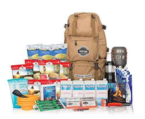 Sustain Supply Sac de survie d'urgence familiale Premium avec 72 heures de fournitures de préparation aux catastrophes pour 4 personnes
