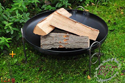 51COnte 8FL - BTV Outdoor Feuerschale + Zubehör - Premium-Feuerschale mit Design-Füßen, XL ca. 60 cm MIT Grillzubehör: 12x Grillspiesse Grillbesteck Grillspass Holzkohle