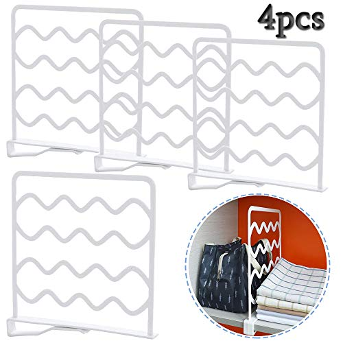 Anyumocz 4 Pcs White Plastic Shelf Dividers Closet Shelf Organizer Divider,Wardrobe Partition Shelves Divider for Storage and Organization
