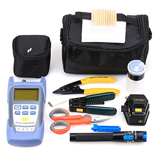 18 in 1 FTTH Fiber Optic Tool Kit with Fiber Fibra Optica Power Meter and Visual Fault Locator and Cable Cutter Stripper 6C Fiber Cleaver